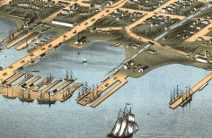Bird's eye view of the city of Erie, Erie County, Pennsylvania 1870. Chicago Lithographing Co.